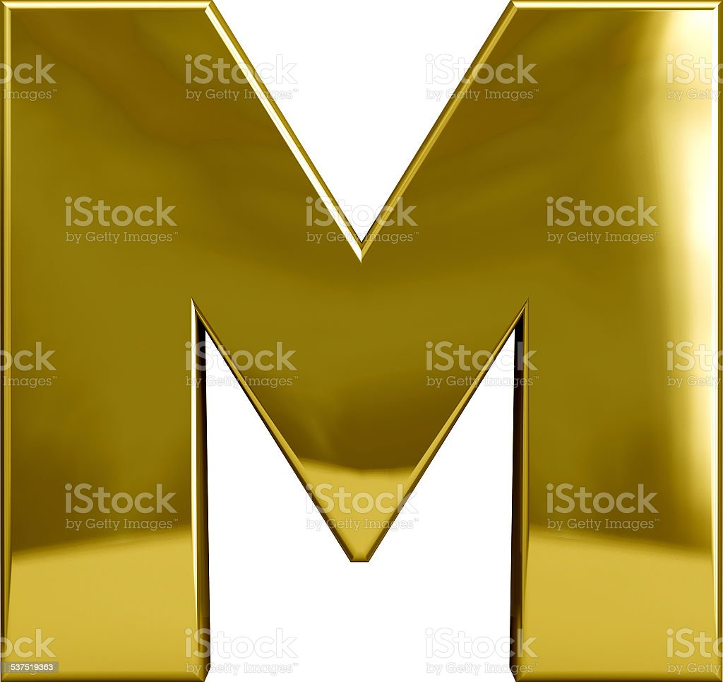 Gold Metal Letter M stock photo
