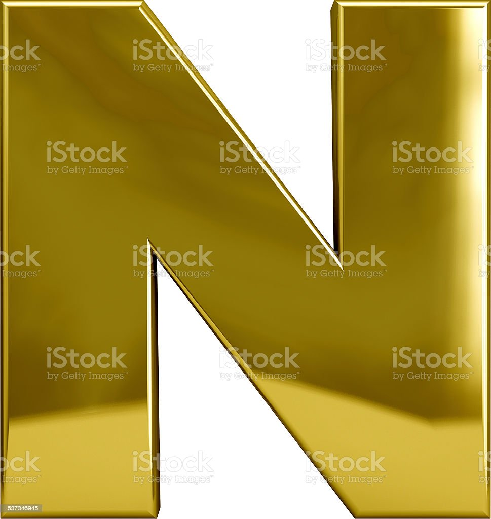 Gold Metal Letter N stock photo