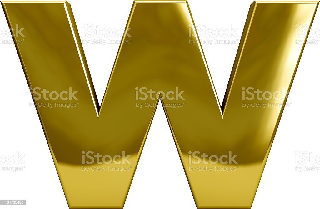 Gold Metal Letter W stock photo