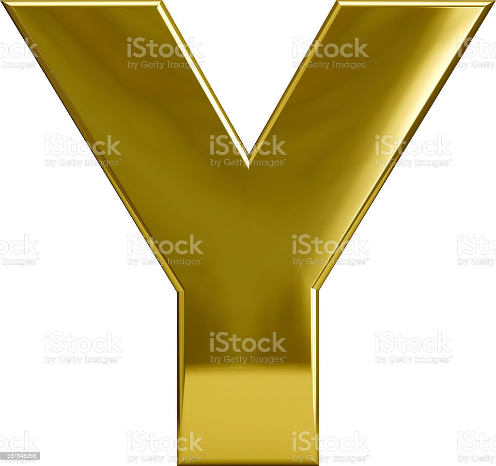 Gold Metal Letter Y stock photo