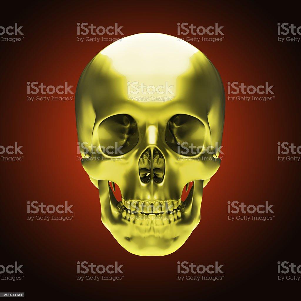 Gold metallic skull stock photo