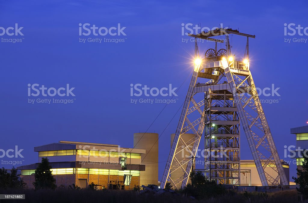 Gold mine head gear and lift pulley station building stock photo