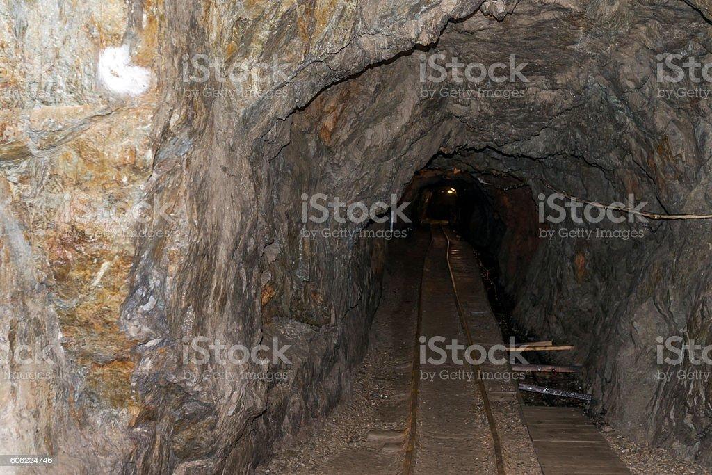 Gold mine shaft stock photo