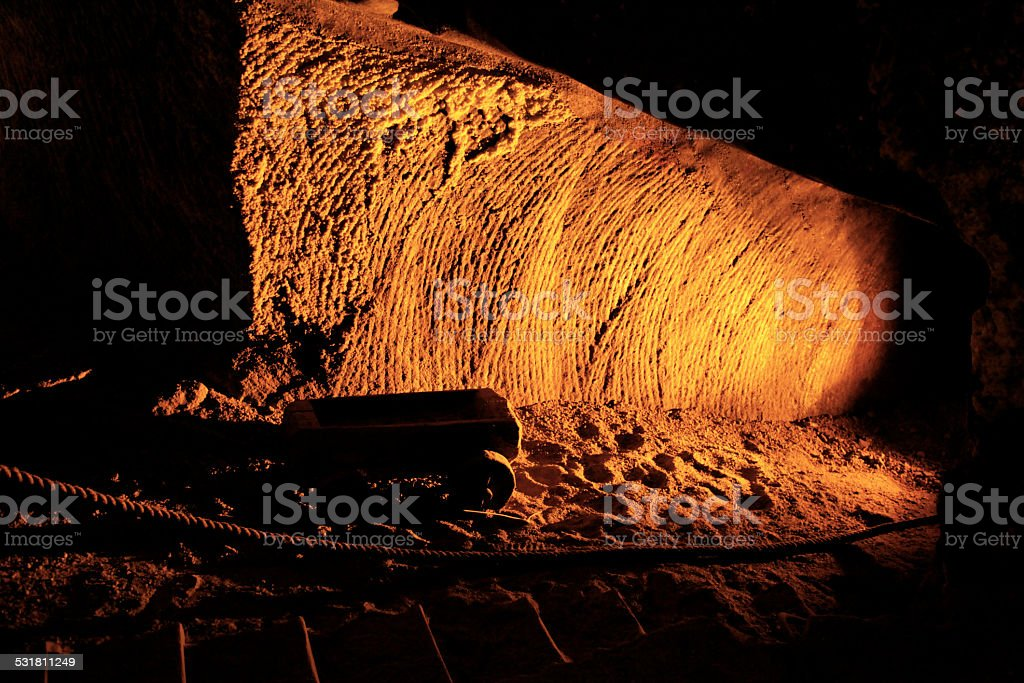Gold mine trolley. Gold rush rich and poor. stock photo