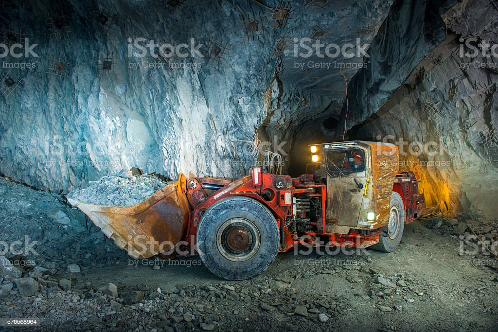 Gold mine tunnel stock photo