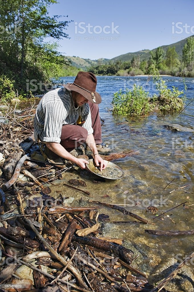 Gold Miner American River Vertical stock photo