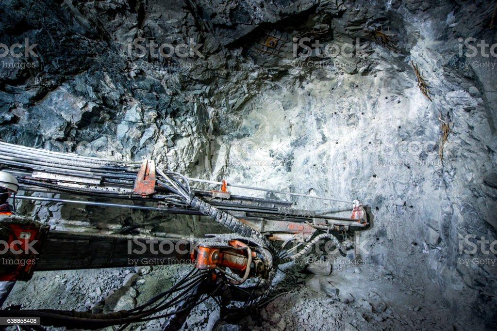 Gold mining underground stock photo