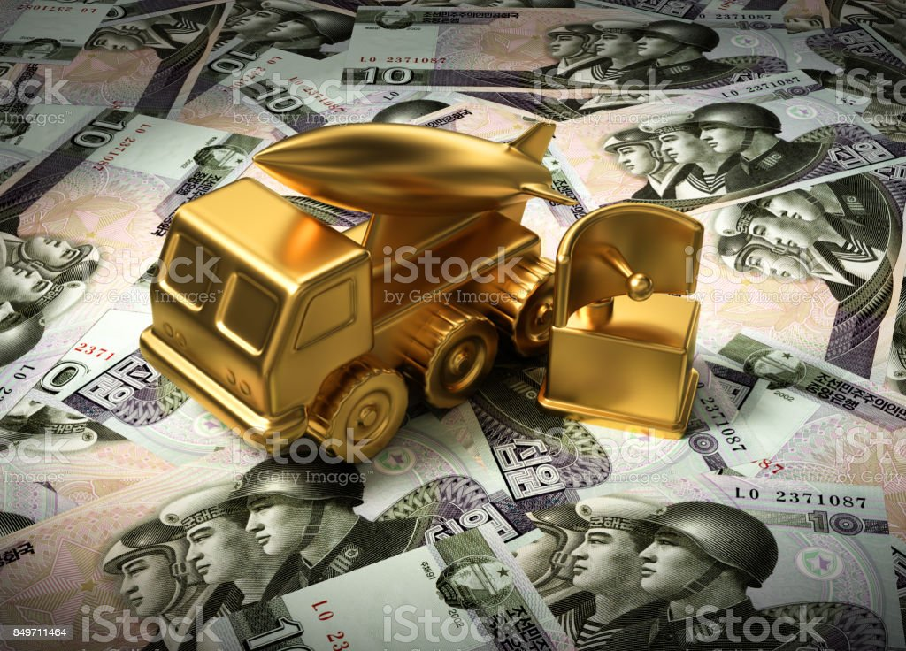 Gold Missile System And Radar On North Korean Wons stock photo