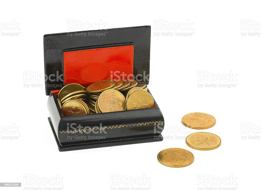 Gold money in box royalty-free stock photo
