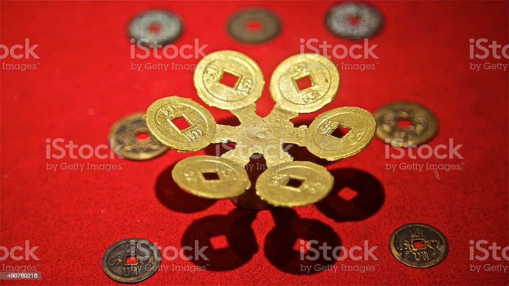 Gold money. Renminbi yuan. Old chinese golden coins. China Asia. stock photo