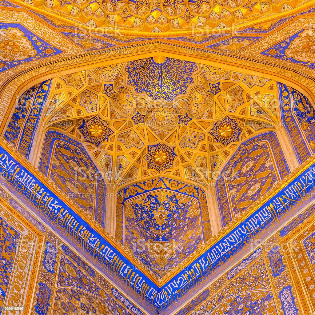 Gold mosaic in Tilya Kori Madrasah, Samarkand, Uzbekista stock photo