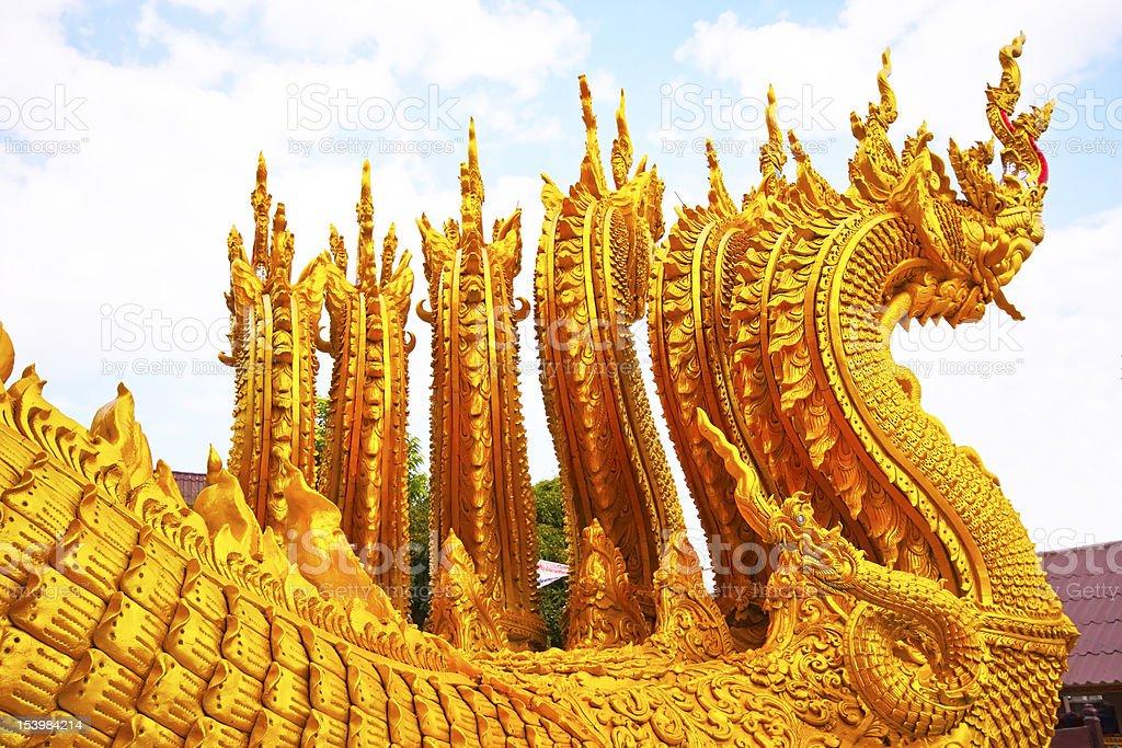 Gold Naga (tajski dragon zbiór zdjęć royalty-free