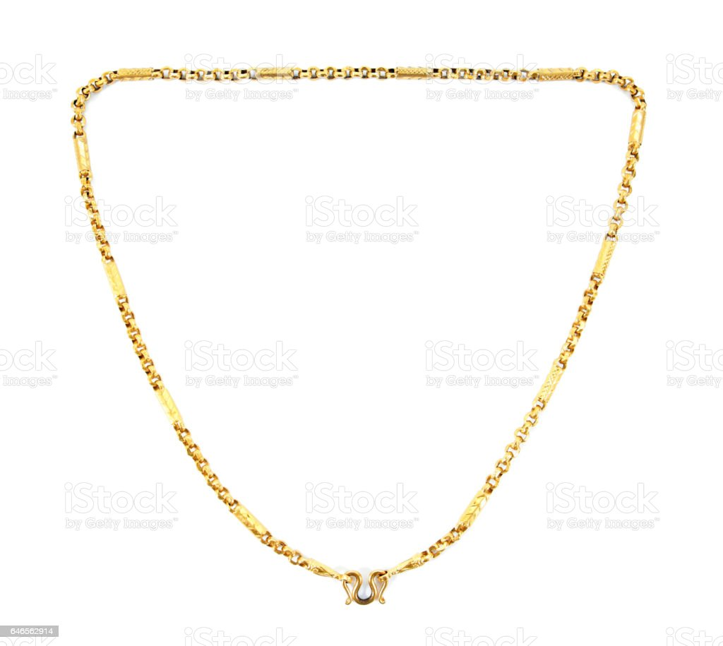 gold necklace isolated on white background.Thailand gold necklace isolated stock photo