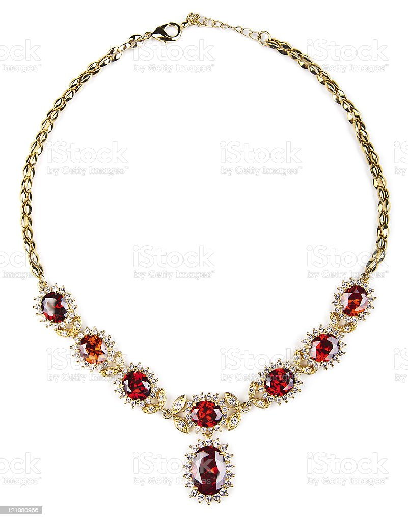 gold necklace with gems isolated stock photo