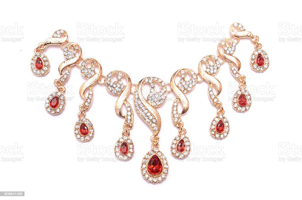 gold necklace with rubies stock photo