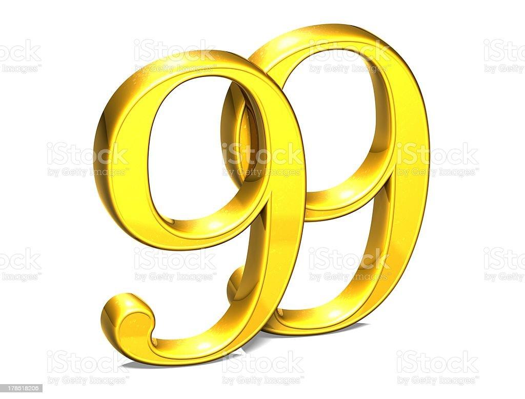 3D Gold Ninety-Nine on white background stock photo