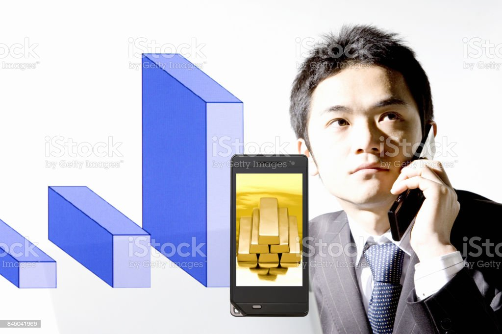 Gold Nugget photographed corporate and mobile electric screen stock photo