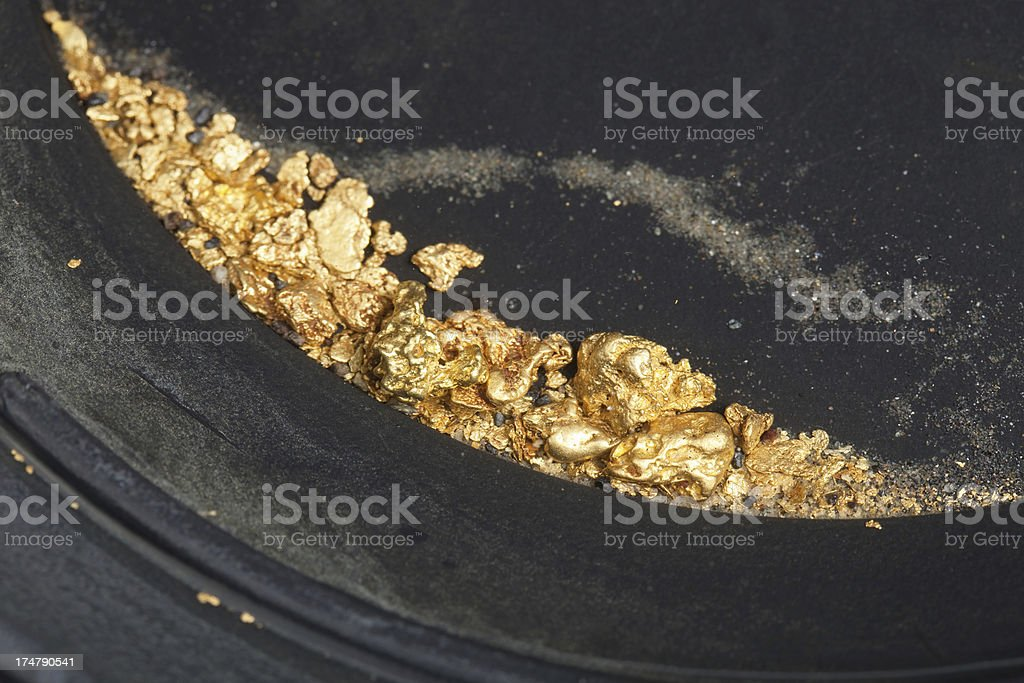 Gold Nuggets and Flakes in Pan stock photo