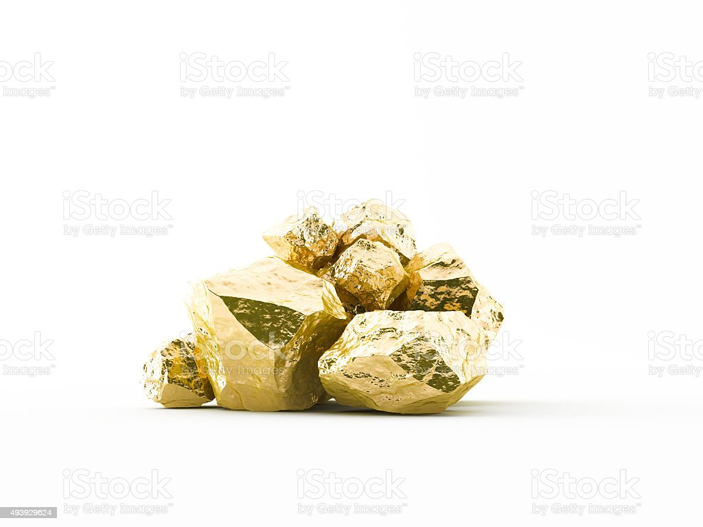 Gold nuggets white background stock photo