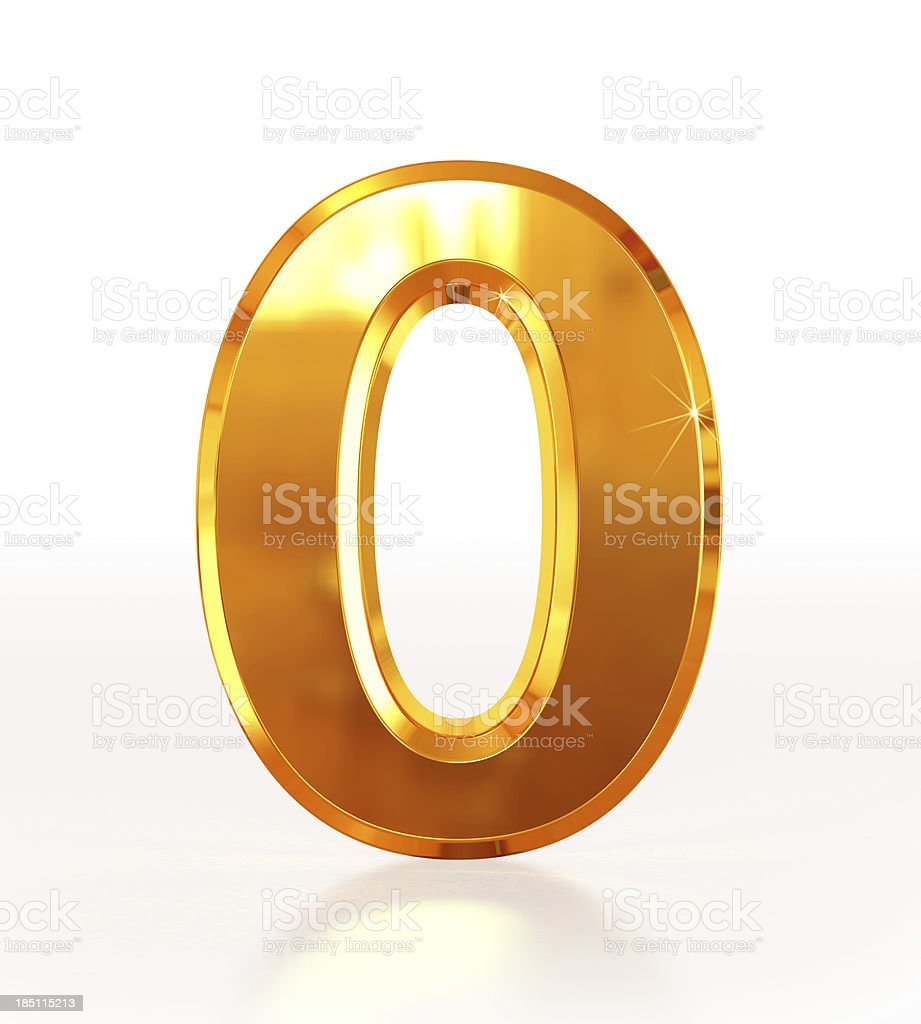 Gold Number 0 royalty-free stock photo