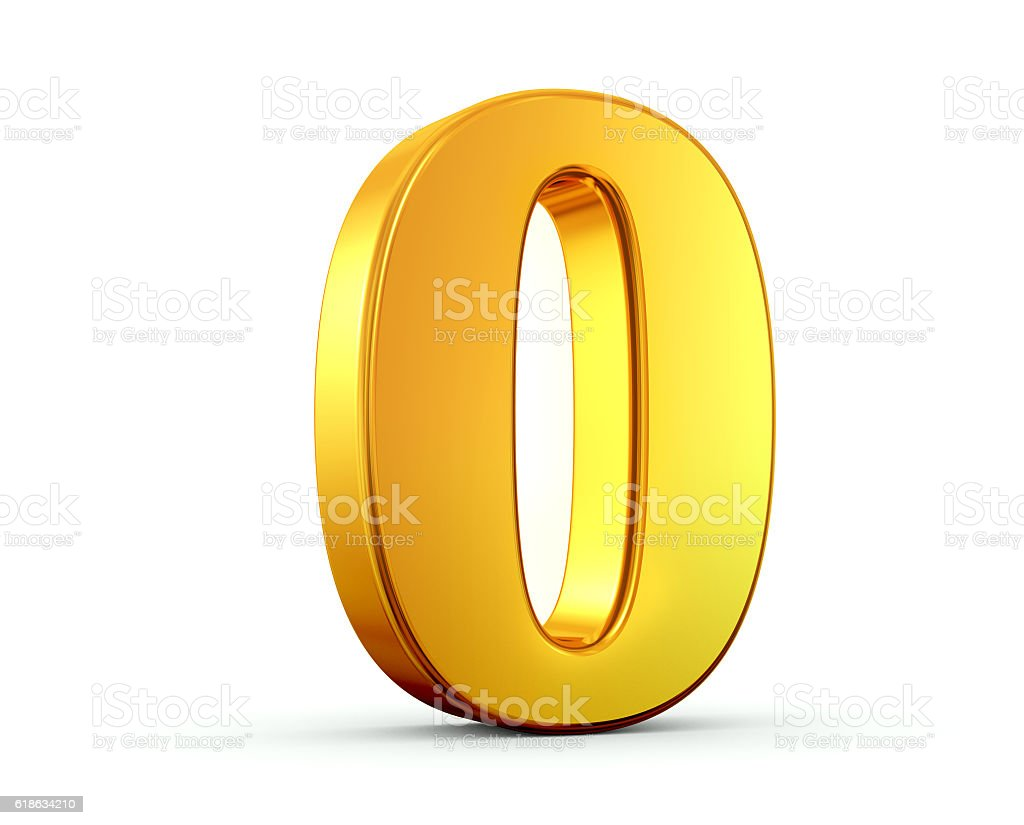 Gold Number 0 stock photo