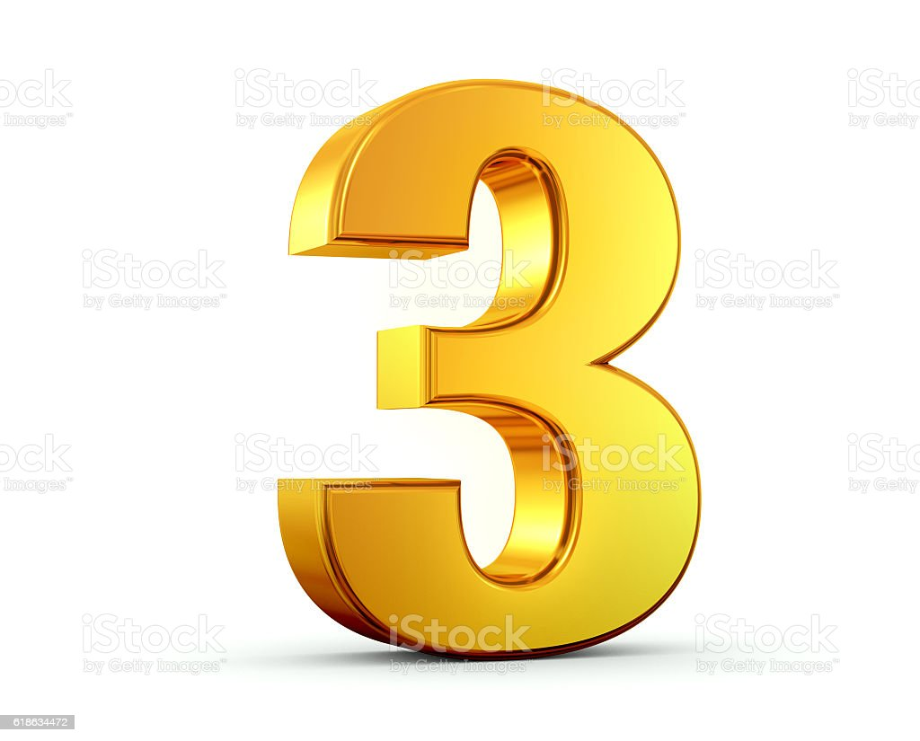Gold Number 3 stock photo