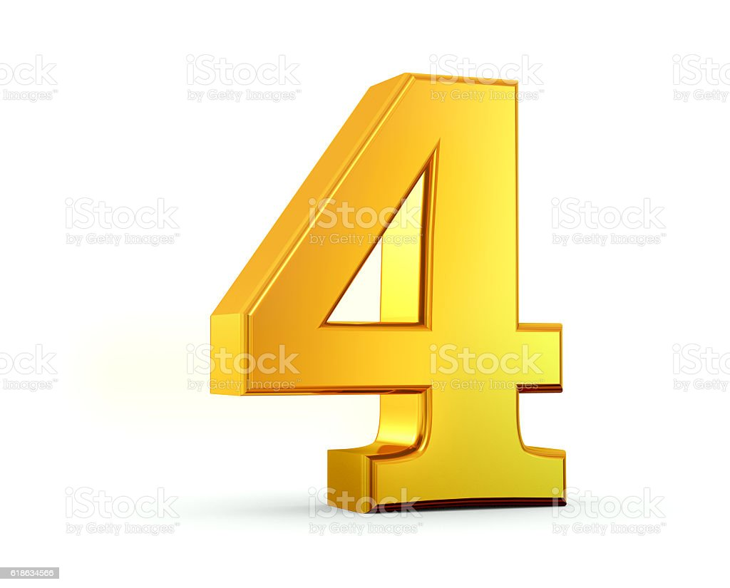 Gold Number 4 stock photo