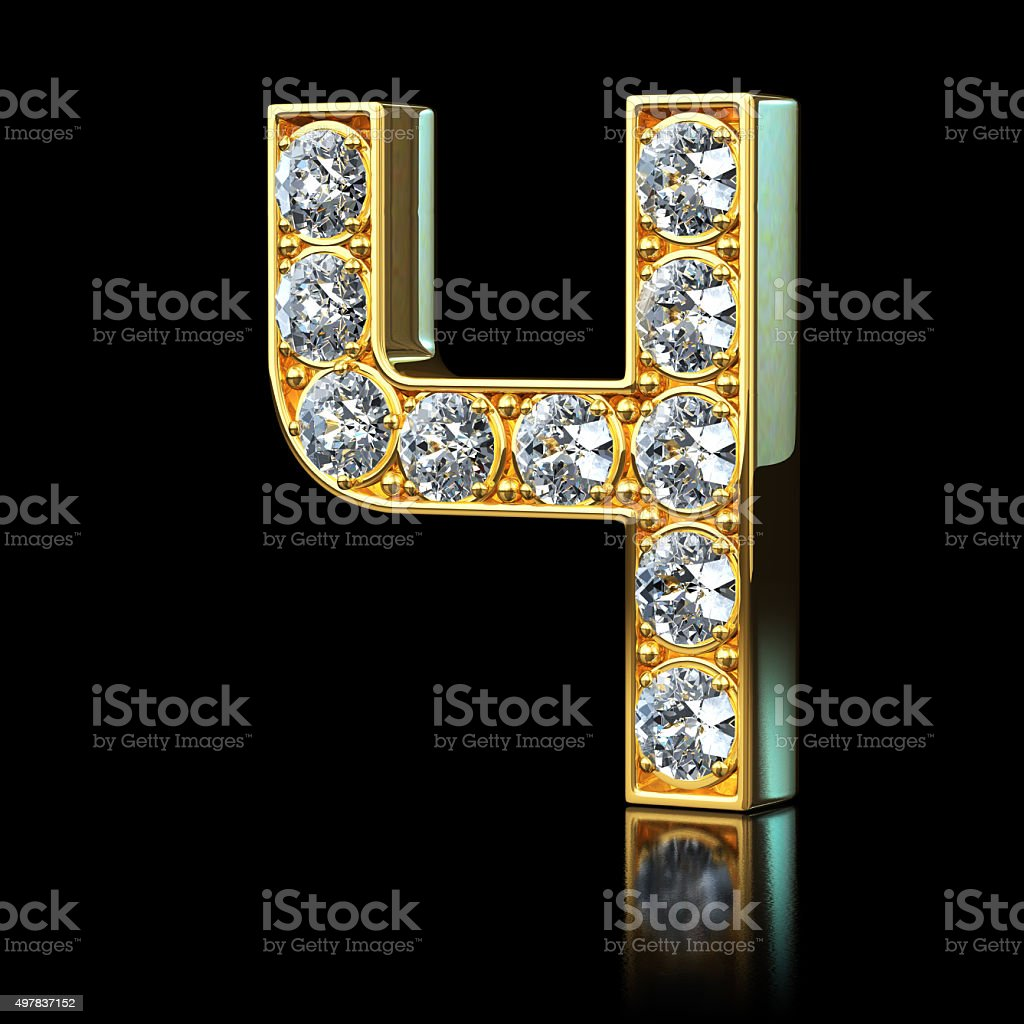 Gold Number 4 With Diamonds stock photo