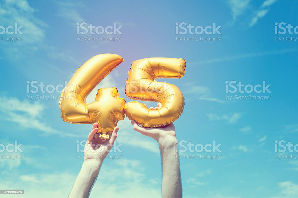Gold number 45 balloon stock photo