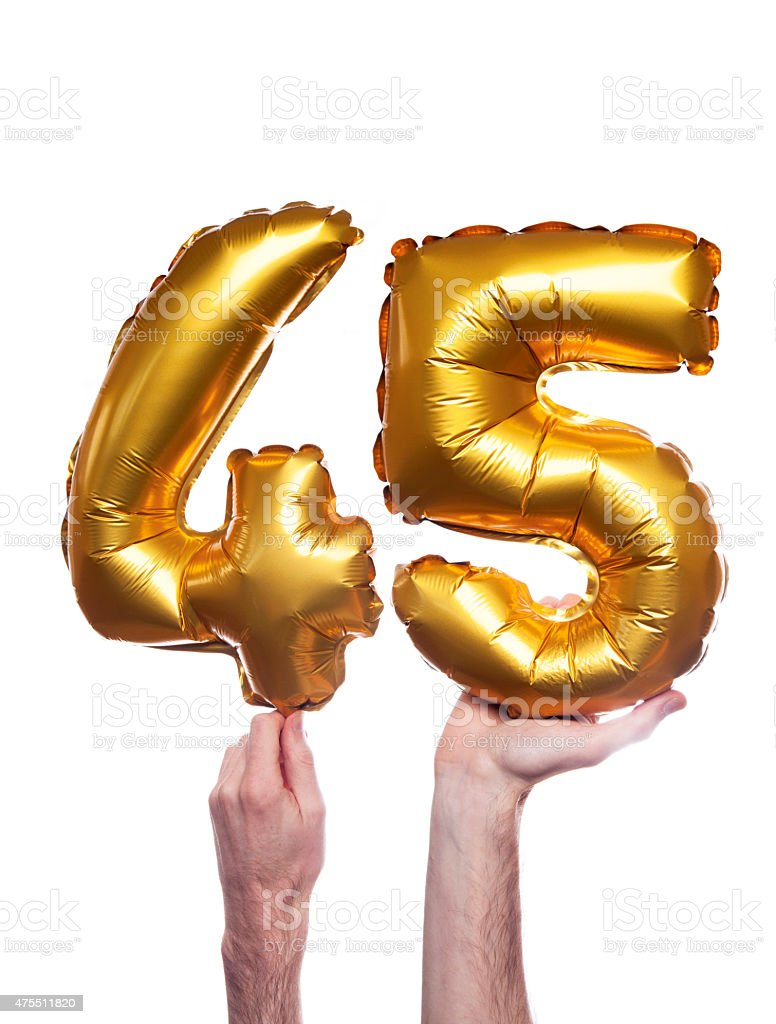 Gold number 45 balloons stock photo