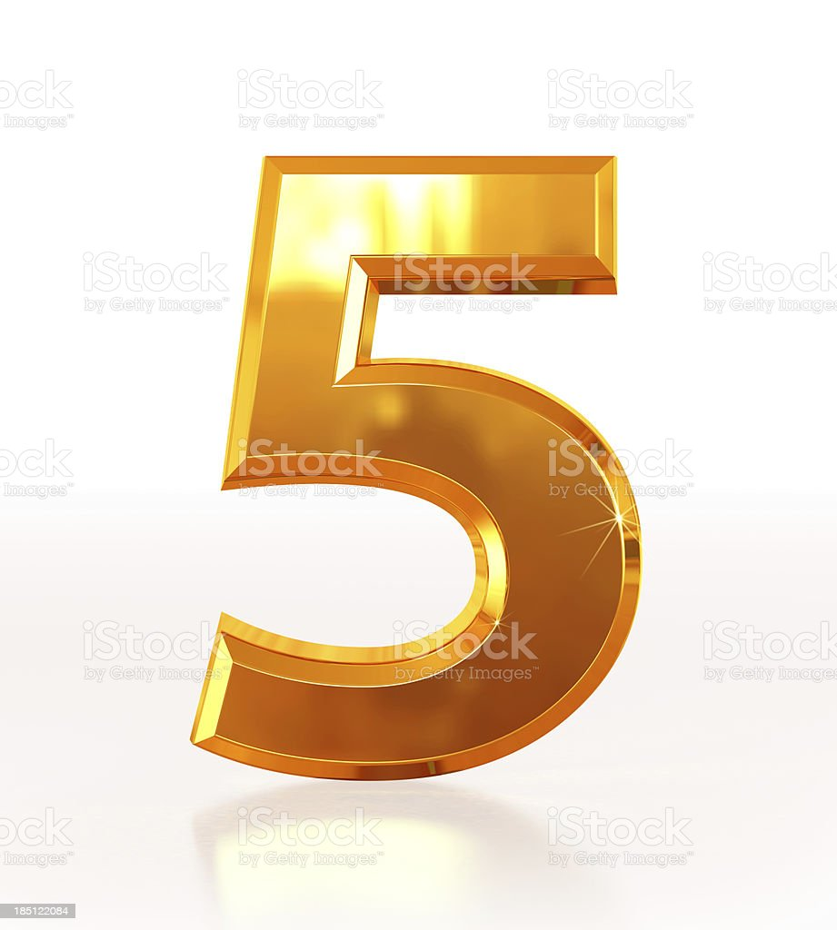 Gold Number 5 stock photo