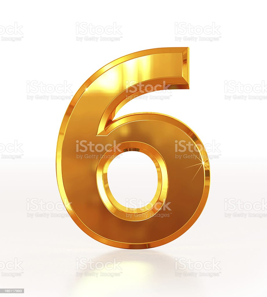 Gold Number 6 stock photo