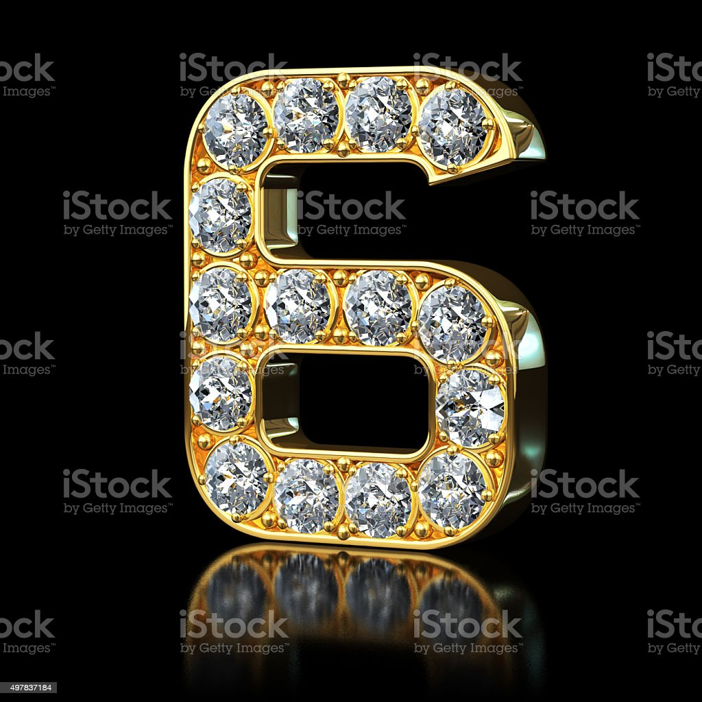 Gold Number 6 With Diamonds stock photo