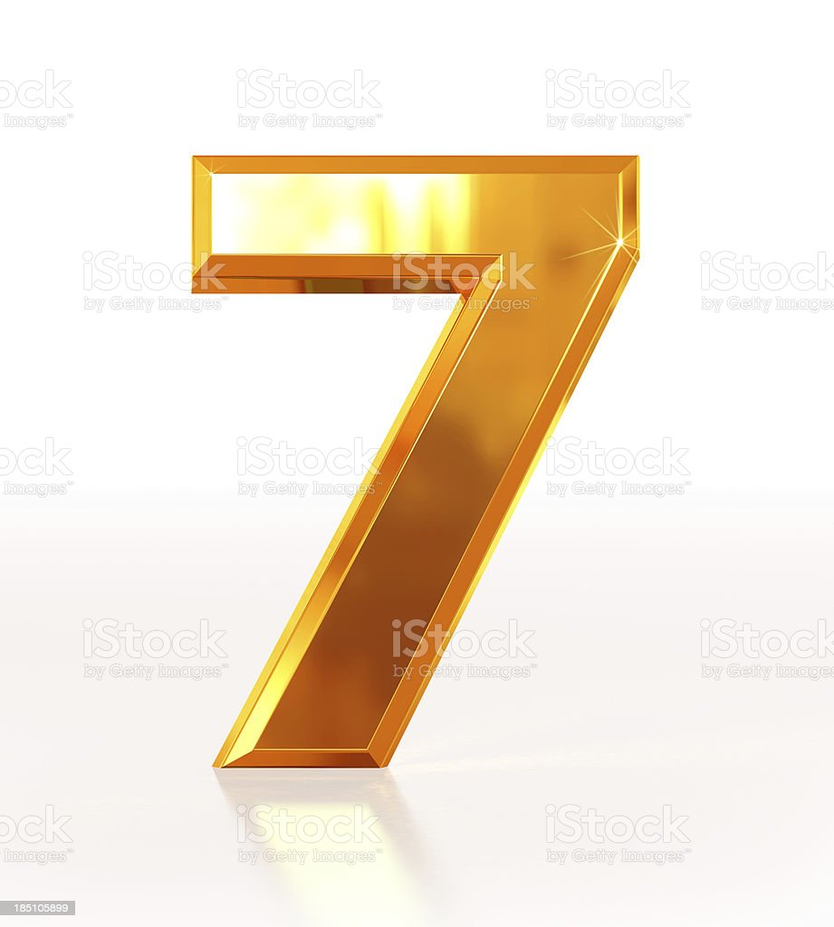 Gold Number 7 royalty-free stock photo
