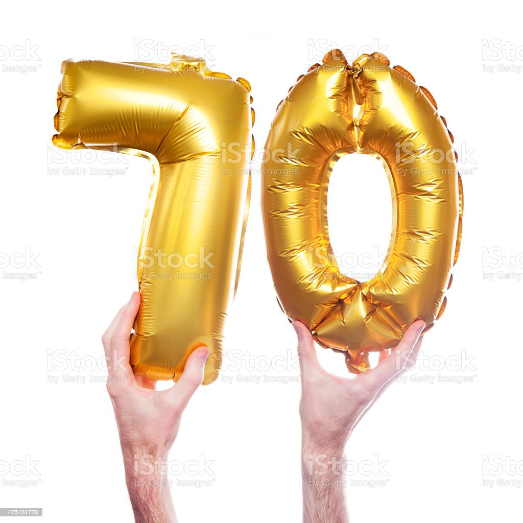 Gold number 70 balloons stock photo