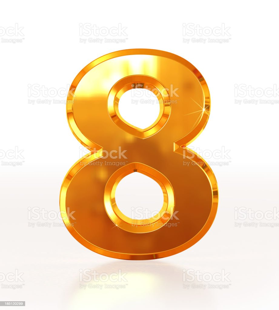 Gold Number 8 royalty-free stock photo
