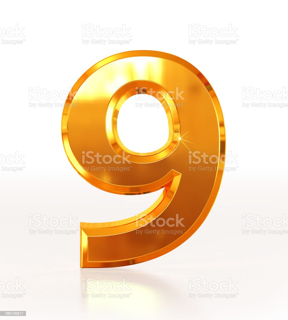 Gold Number 9 stock photo