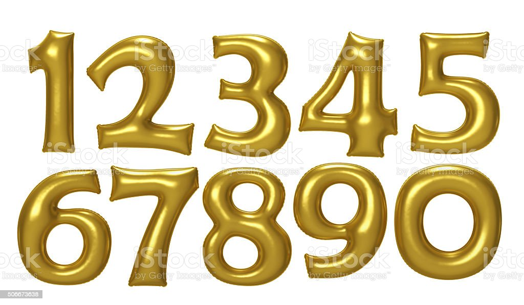 Gold number foil balloon set with clipping path stock photo