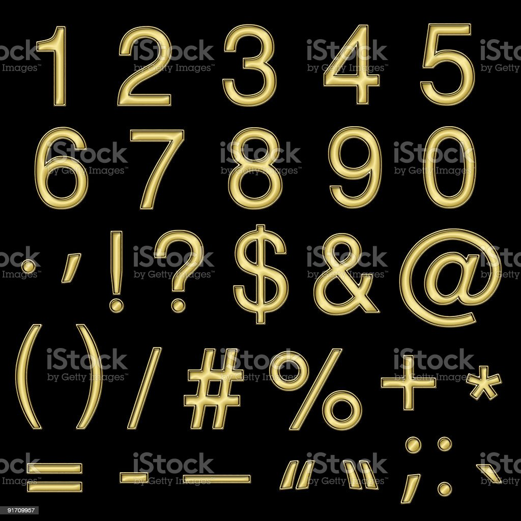Gold Numbers & Symbols royalty-free stock photo