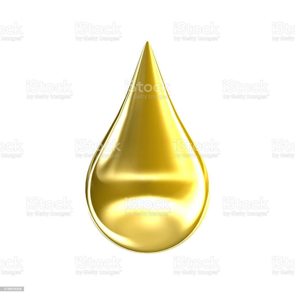 Gold oil drop isolated on white background stock photo