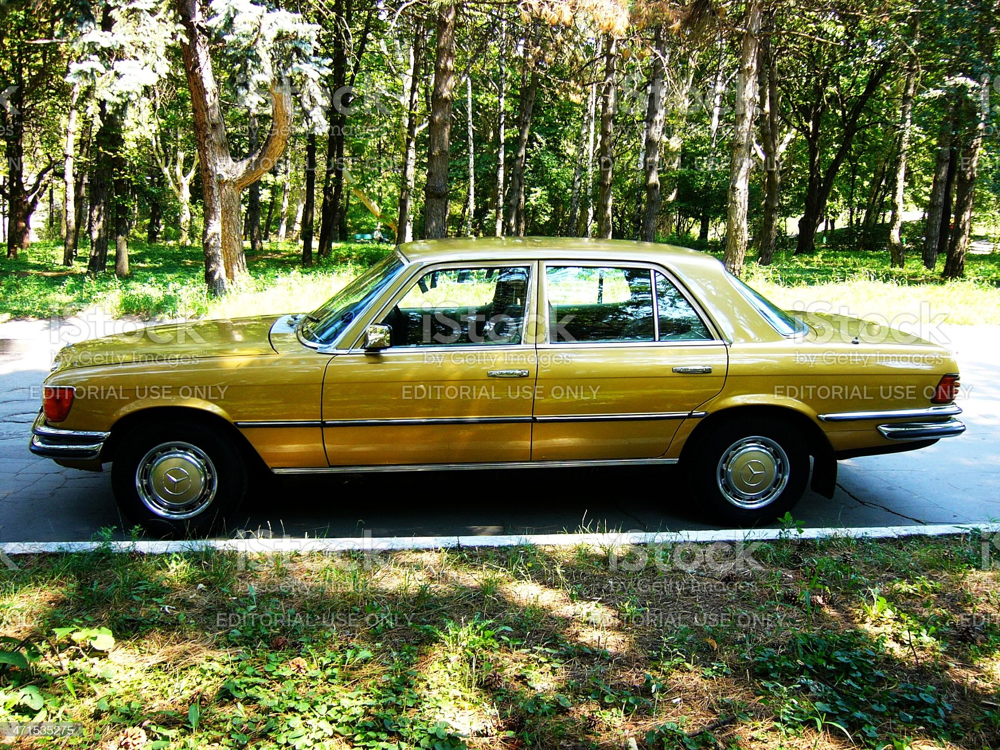 Gold oldtimer car in a park royalty-free stock photo