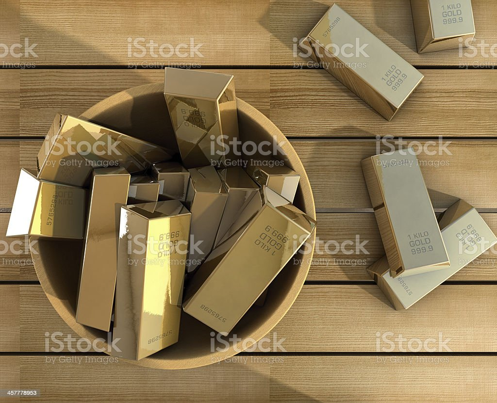 Gold on a bowl stock photo