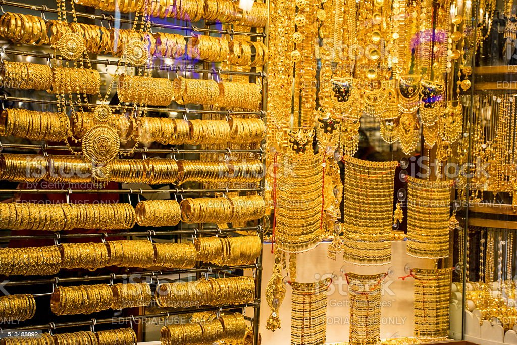 Gold on the famous 'Golden souk' in Dubai stock photo