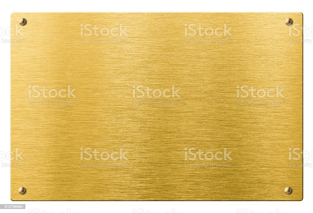 gold or brass metal plate with rivets isolated vector art illustration