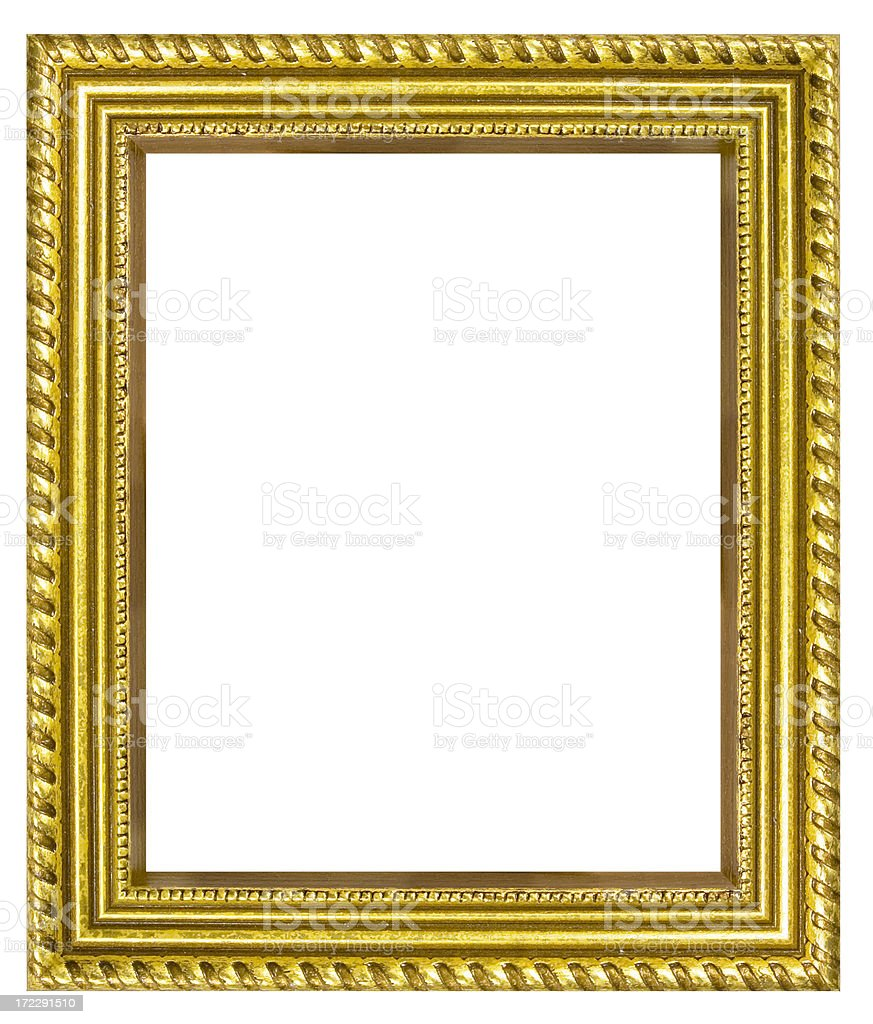 Gold or Gilded Picture Frame Isolated with Clipping Path royalty-free stock photo