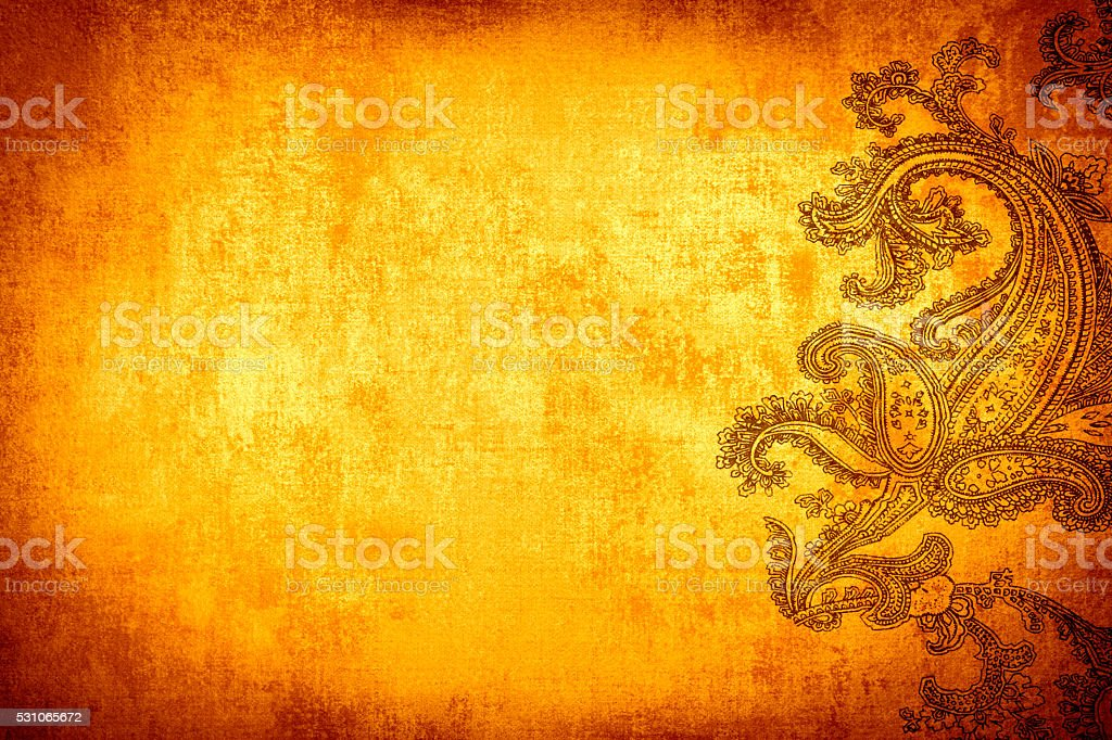 Gold Orange Paisley Background stock photo