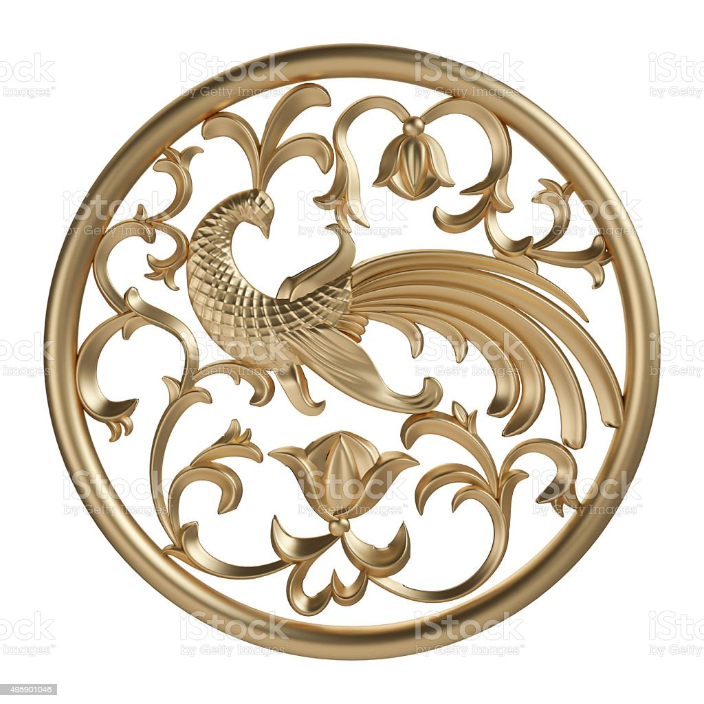 Gold ornament on a white background stock photo