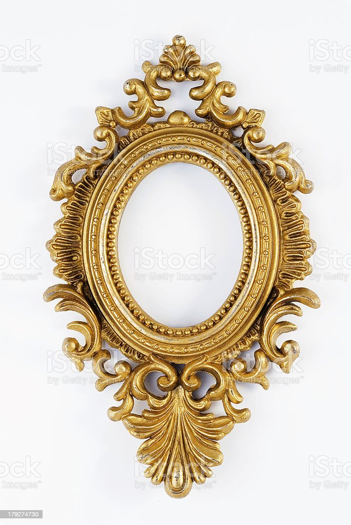 Gold ornate oval frame royalty-free stock photo