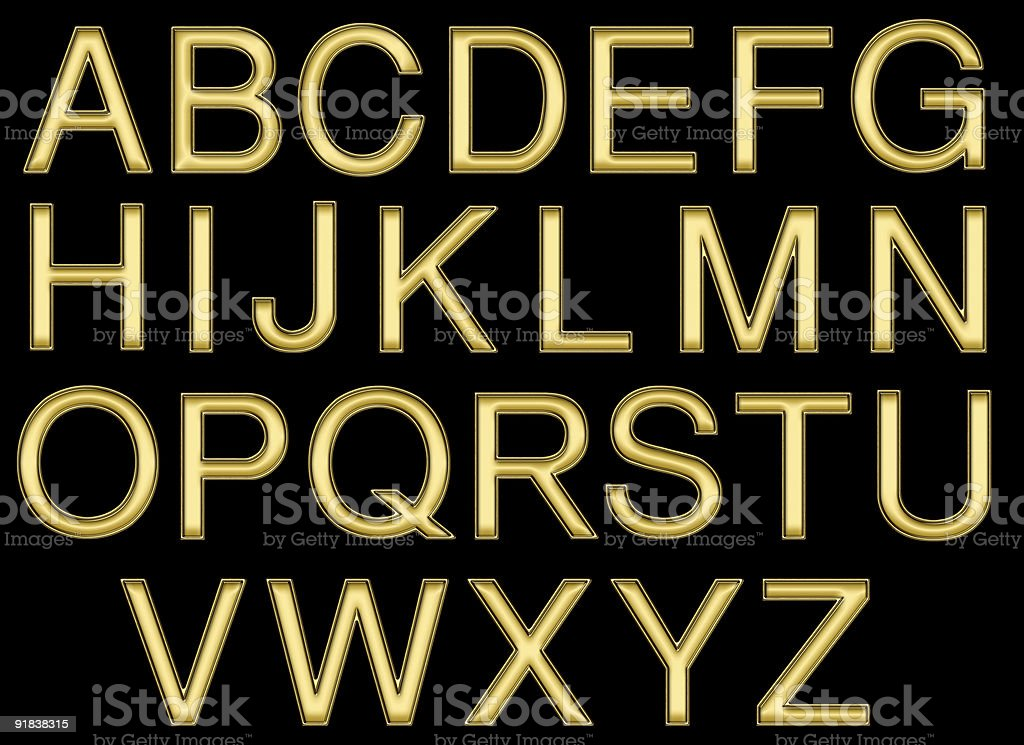 Gold Outline Type Alphabet on Black with Clipping Path stock photo