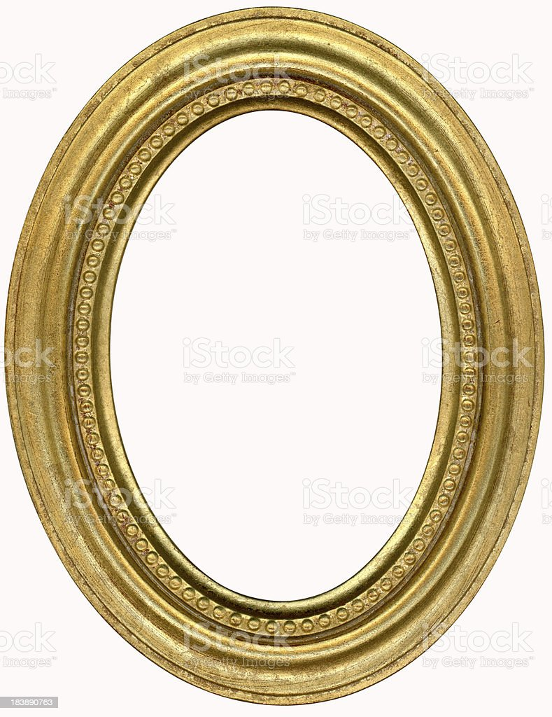 Gold Oval Picture Frame. Isolated on White with Clipping Path stock photo